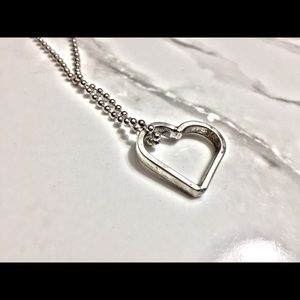 Sterling Silver Plate Necklace Heart  Minimalist